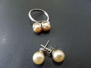 Pearl Earrings & Ring