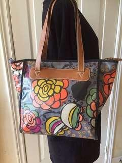 Fossil Gray Multi Color Leather Trim Floral Pattern Coated Canvas Boho Bag