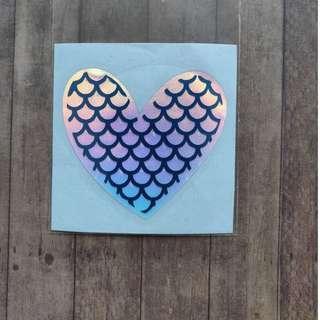 Waterproof Vinyl Sticker Holographic Mermaid Heart Laptop Stickers
