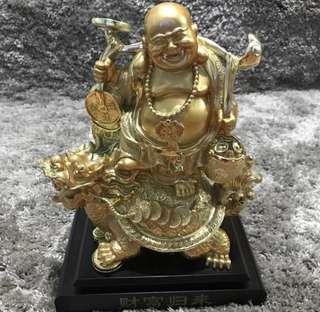 Repriced!!! Laughing Buddha sitting in dragon tortoise