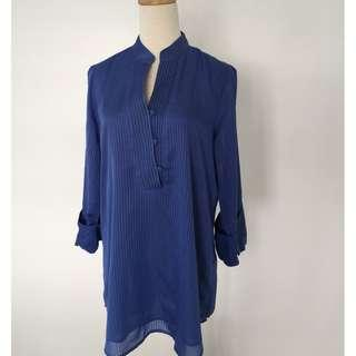 Ms Read Blue Ladies Shirt with 3/4 Sleeves