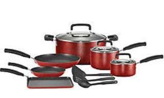 🚚 (BNIB) Authentic T-fal signature 12Pc non stick cookware. Red