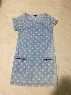 Warehouse polka dot denim shift dress