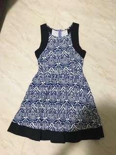 MDS tribal print skater dress