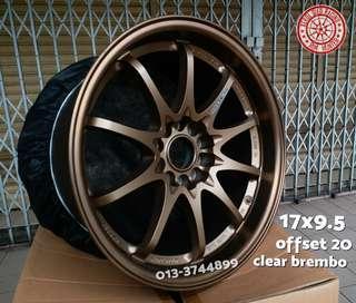 Sport Rim Ce28 Concave Ori Thailand AutoOptions 17x9.5 inci Clear 4 Pot Brembo Evo 7 8 9 Subaru 8.5 Cutting Sebijik Ori Japan
