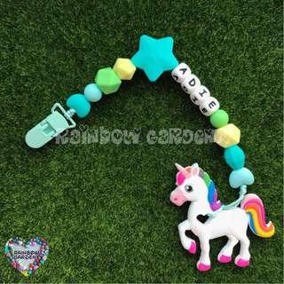 Handmade Customized Pacifier Clip with letter beads + Unicorn teether