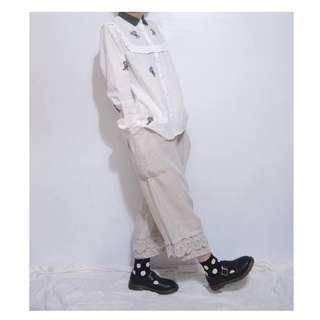。error dot。日本大口袋蝴蝶布蕾絲縮口寬褲
