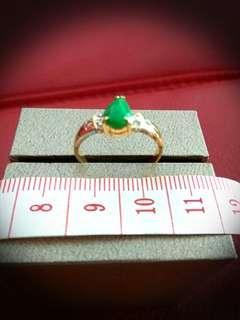 Jade, Diamond gold ring.