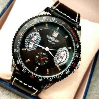 全自動黑鋼機械陀飛輪日暦真皮手錶 Original Brand New Automatic Silver Steel Mechanical Tourbillon Calendar Genuine Leather Watch
