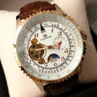 全自動機械金鋼日月星真皮手錶 Original Brand New Automatic Mechanical Gold Steel Sun and moon stars Genuine Leather Watch