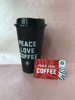 ✌🏻🖤☕️Peace Love Coffee Reusable Cup & Card Set from Starbucks USA