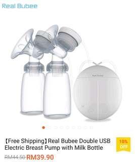 Real Bubee USB Electric Breast Pump + 8x Milk Storage Bottles + 2x Milk Bottles
