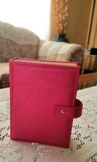 Portable earring organizer fashionable PU leather book shape hot pink