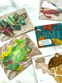 🍁🍂🌰2017 & 2018 Exclusive USA Starbucks Fall Leaves & Acorns Cards