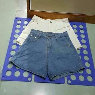 牛仔短褲 白27/淺藍28