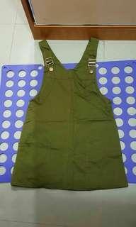 綠色牛仔背帶裙 S