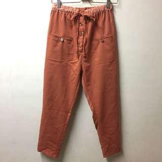 Queen shop 造型口袋綁帶舒適長褲