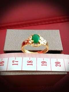 Jade, Diamonds, Gold Ring.