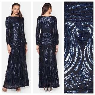 👭Zalia Blue Sequins Mermaid Dress (RENTAL)