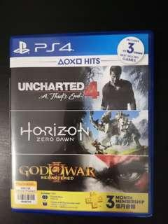 PS4 Horizon Zero Dawn + God Of War 3 + Uncharted 4 + 3 Months PS Plus ( 3 In 1 )