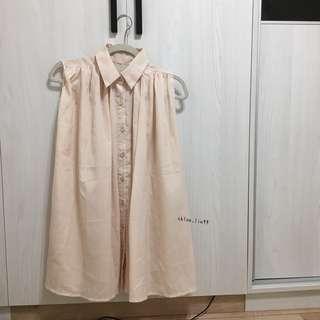 ⚫️ᴿ滑面杏色無袖襯衫