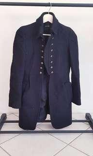 Oxford black wool coat