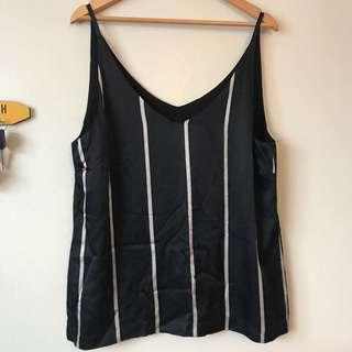 Navy blues silk stripe tank top