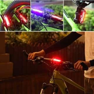 🚚 Goofy USB Rechargeable COB Dual color Bicycle Bike Cycling Front Rear Tail Light---RED & BLUE