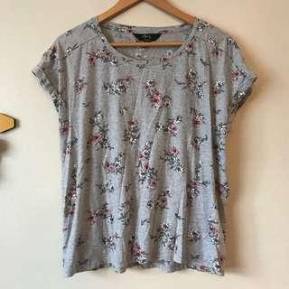 Floral Grey Shirt Sleeve Top