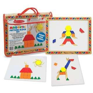 BNIP: Melissa & Doug Deluxe Wooden Magnetic Pattern Blocks Set - Educational Toy With 120 Magnets and Carrying Case