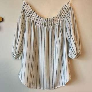 White stripe off the shoulder top