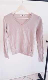 Cream v neck jumper