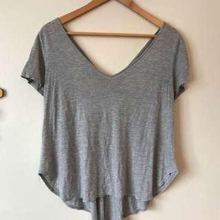 Grey V-neck tee with back cutout