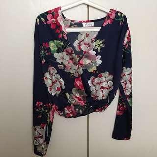 FAIZ DESIGNER satin floral crop blouse