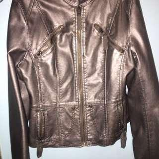 F21 pleather metallic jacket size S