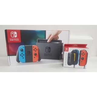 (Brand New) Nintendo Switch Console Grey/Neon, FREE Joy-Con (L)/(R) AA Battery Pack (Maxsoft Warranty)