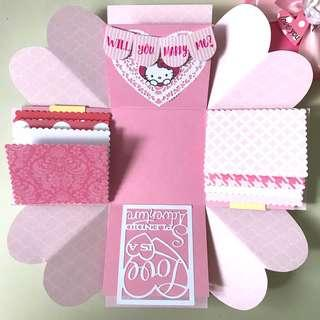 Will you marry me Handmade hello kitty Explosion Box Card
