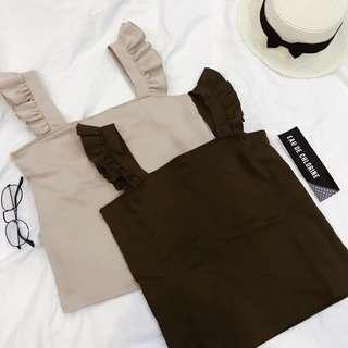 Fritz Ruffled Sleeveless Top Office Top Basic Top Beige Brown Top Sleeveless Blouse Gray Grey Blouse Blue Top
