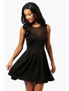 Black cute party skater dress BNWT