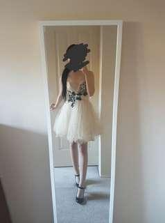 Formal dress nude tulle/black lace