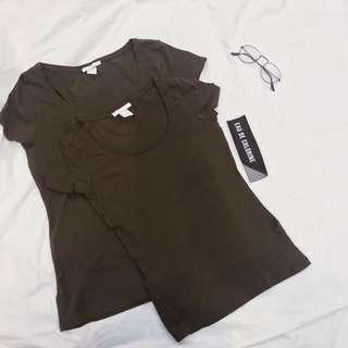 Olive Fitted Top Crew Neck Plain Basic Shirt H&M Top