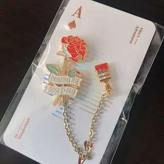 愛麗絲夢遊仙境 紅玫瑰Pin Badge| Alice in Wonderland Red Rose