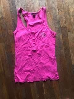 Armani Exchange AX Fuschia pink cross back sleeveless ribbed cotton top