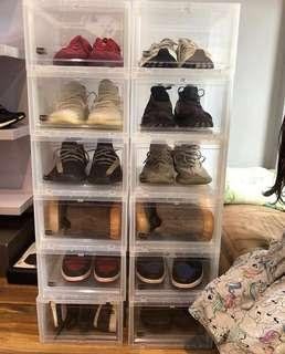 Drop front shoe box / rack