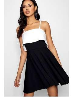 Layered too black and white skater dress BNWT