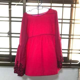 Pink printed babydoll top