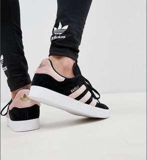 BNWT adidas gazelle shoes black suede pink velvet