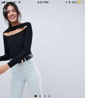 ASOS Bardot Black Long Sleeve Top