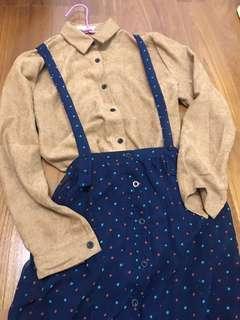 排扣長裙 雪紡吊帶連身裙 森系少女#九月女裝半價