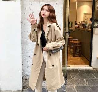 A1416🌸韓系百搭翻領長版風衣外套